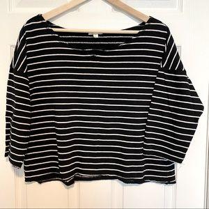 🟣 High Rise/Crop Top Stripe Shirt